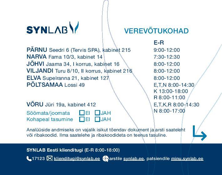 SYNLAB esinduste visiitkaart