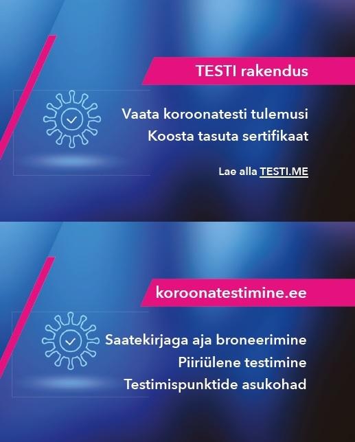 TESTI rakenduse ja koroonatestimine.ee visiitkaart